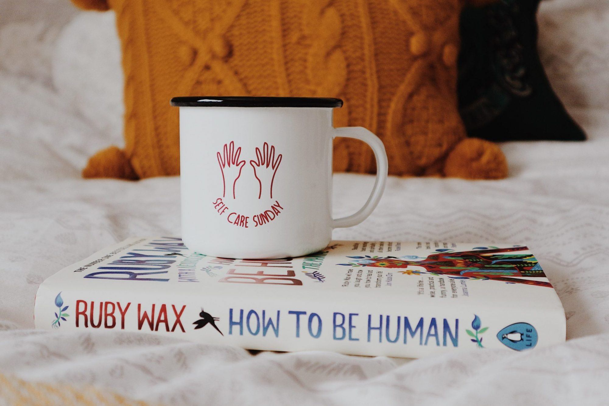 Self Care Sunday Mug + How To Be Human by Ruby Wax Book