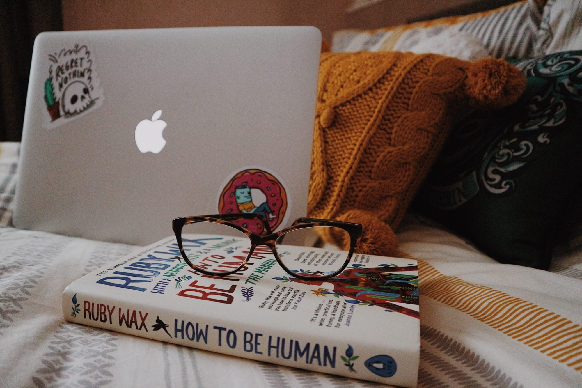 Macbook Pro | How To Be Human Book | Glasses