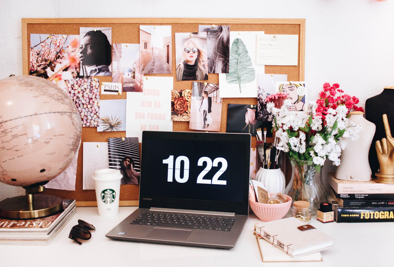 Busy but tidy feminine desk