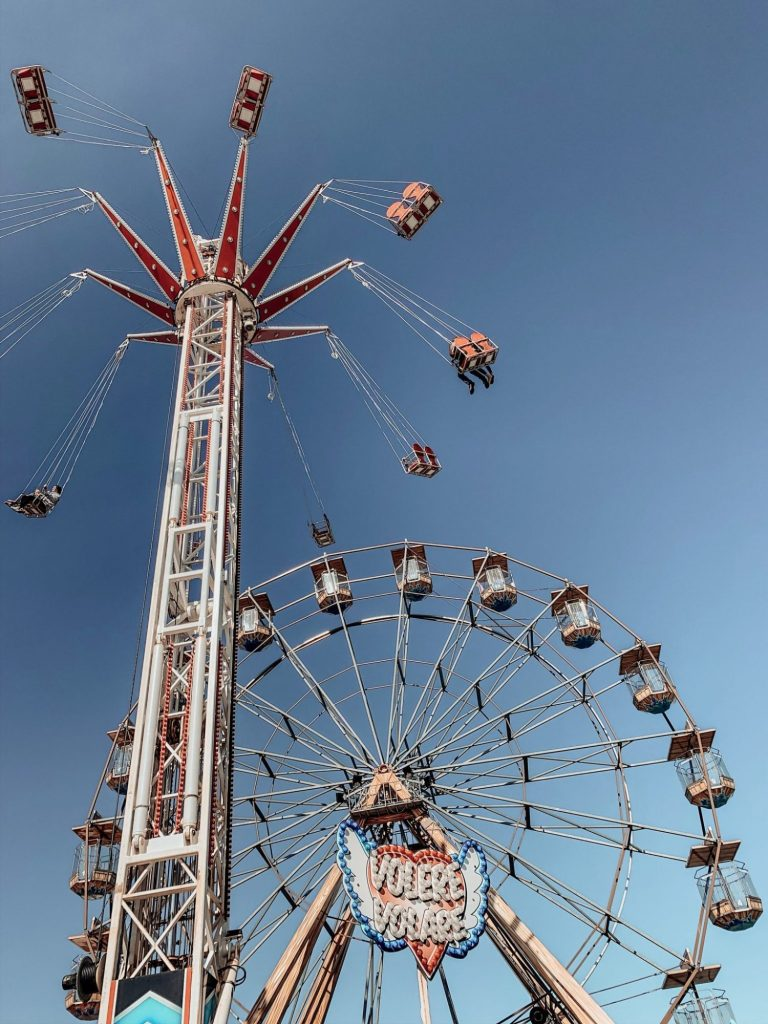 Chair spinner ride and a big wheel in Bridlington