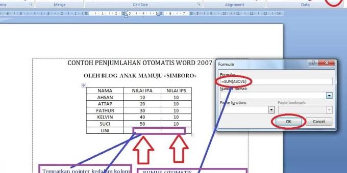 Cara Menghitung di MS Word