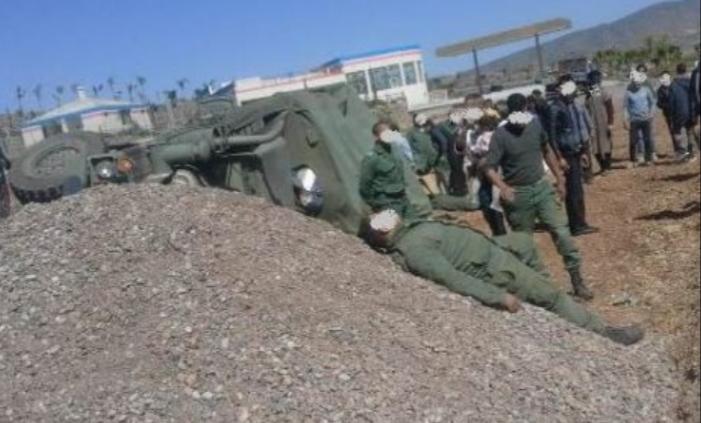 جرحى في انقلاب شاحنة عسكرية ضواحي أزيلال