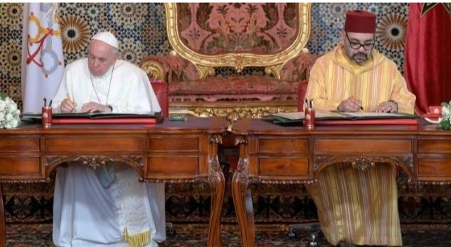 """الملك محمد السادس وقداسة البابا فرانسيس يوقعان """"نداء القدس"""""""