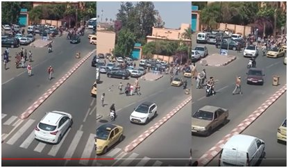 مراكش ايقاف شخص ذو سوابق قضائية بالاعتداء على المارة بالسلاح الابيض.