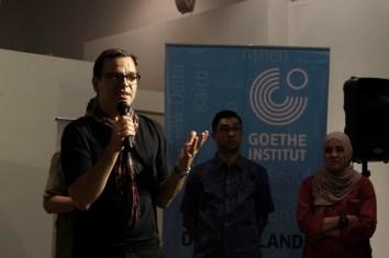 Penerbit buku foto asal Jerman, Marcus Schaden memberikan sambutan saat pembukaan pameran dan workshop buku foto 2016 di Goethe House, Jakarta, 1 November 2016. - The Jakarta Post / Jerry Adiguna