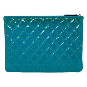 CHANEL TURQUOISE PATENT SHW SMALL CLASSIC POUCH