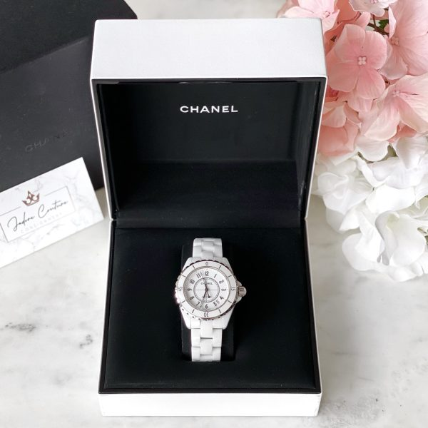 Chanel White Ceramic J12 Watch 38MM Automatic HO970