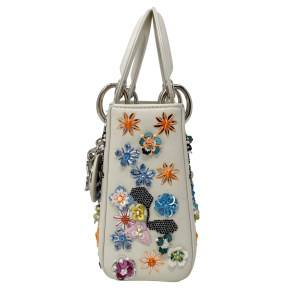 Dior Ivory Floral Sequin Mini Lady Dior