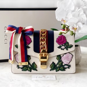 Gucci White Embroidered Floral Small Sylvie Shoulder Bag