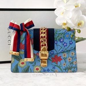 Gucci Blue Floral Small Sylvie Shoulder Bag