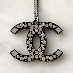 Chanel Crystal Black Resin CC Necklace