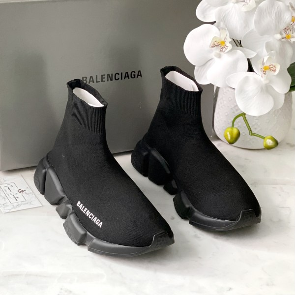 Balenciaga Black Stretch-Knit Speed High Top Sneakers 36