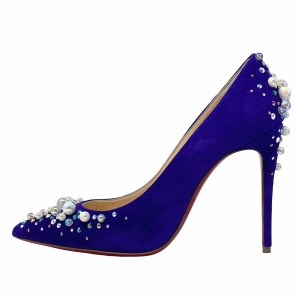 Christian Louboutin Purple Pop Suede Candidate Pumps 100mm 35