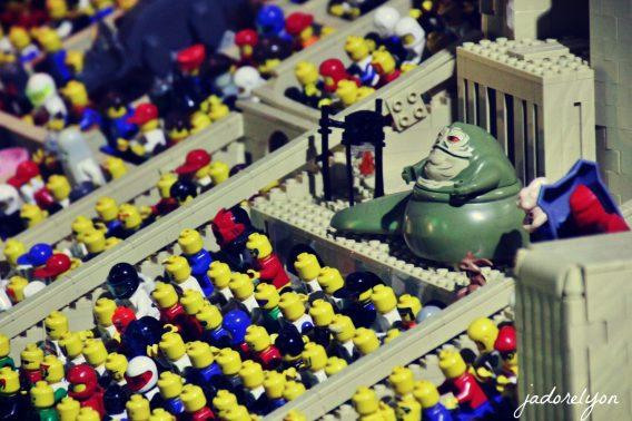 Jabba The Hutt at pod racing. Lego Expo at MiniWorld