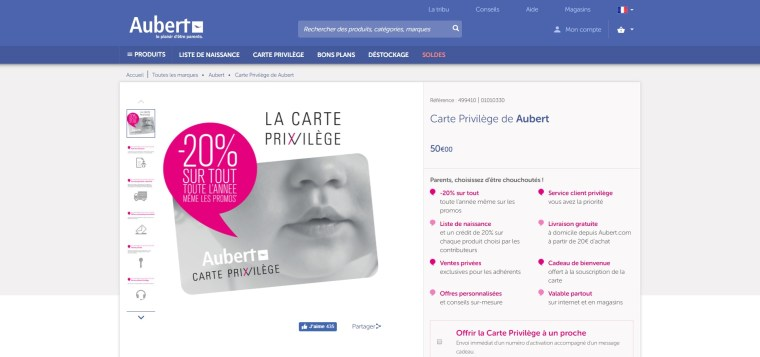 Carte Privilège Aubert