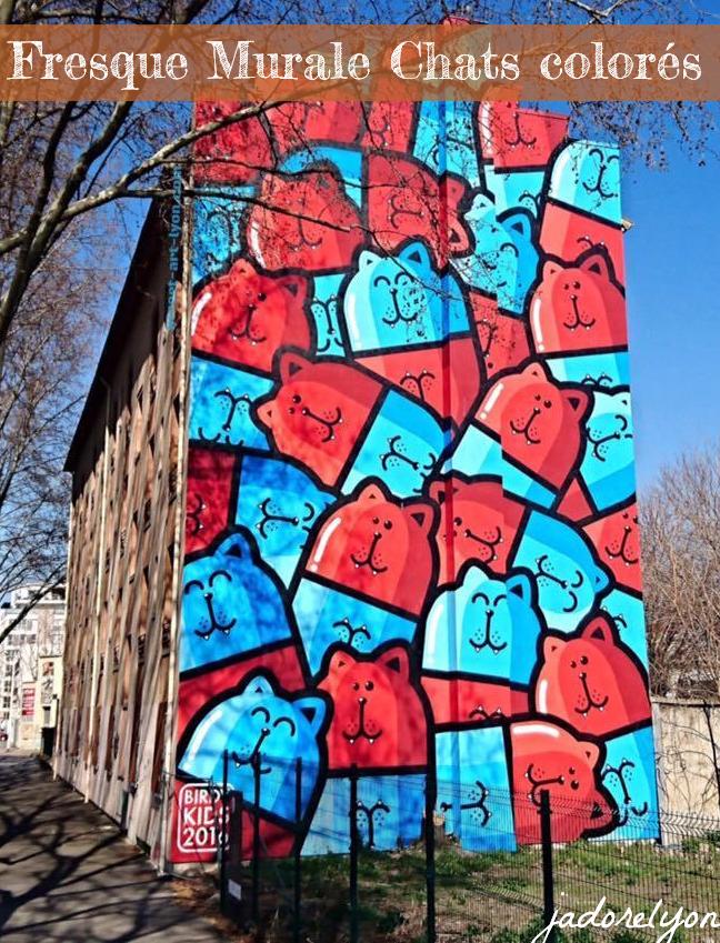 Fresque Murale Chats colorés