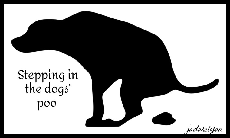 stepping in the dogs' poo