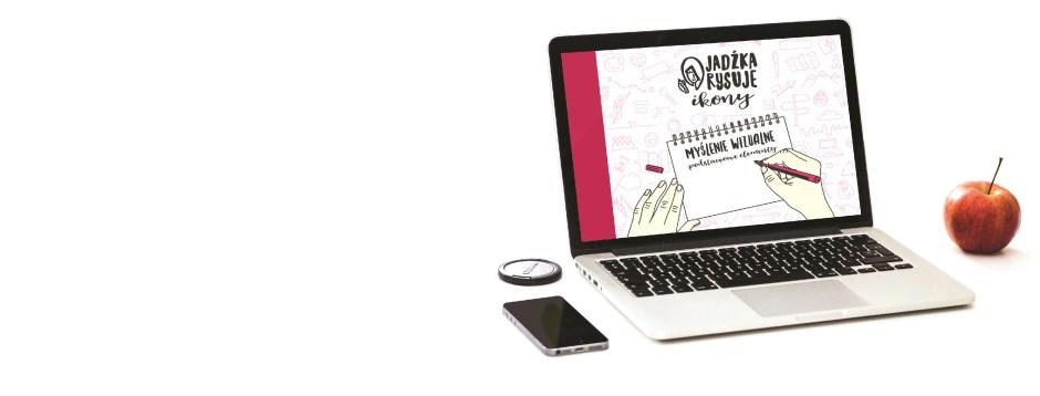 E-book-Jadźka-Rysuje-ikony-na-ekranie-laptopa-białe-tło