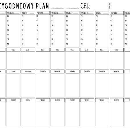 12 tygodniowy plan dni tygodnia Jadźka Rysuje