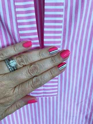 stripes mani jcrew bell sleeve pink