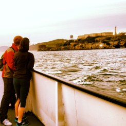 Lovers passing Alcatraz Island