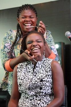 Bimpe Onakoya having fun working on Yemisi of Nsure Beauty