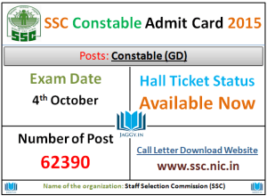SSC Constable Admit Card 2015