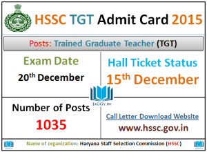 HSSC TGT Answer Key 2015