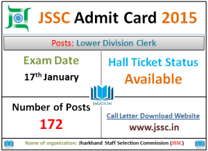 JSSC Sachivalaya Clerk Admit Card 2015