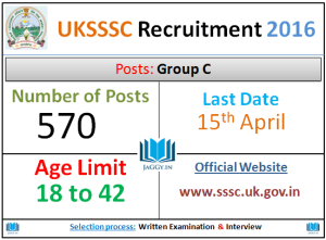 UKSSSC Group C Recruitment 2016