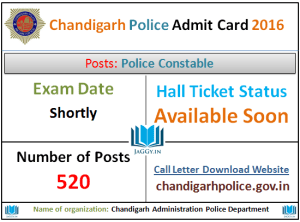 Chandigarh Police Admit Card 2016