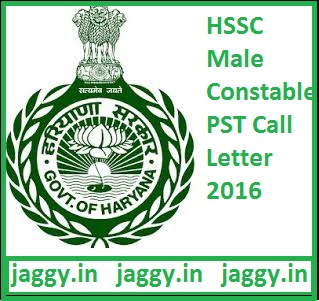 HSSC Male Constable PST Call Letter 2016