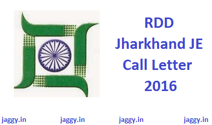 RDD Jharkhand JE Call Letter 2016