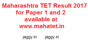 MAHA Tet Paper 1 and 2 Result 2017