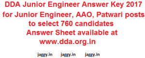 DDA JE Answer Key 2017