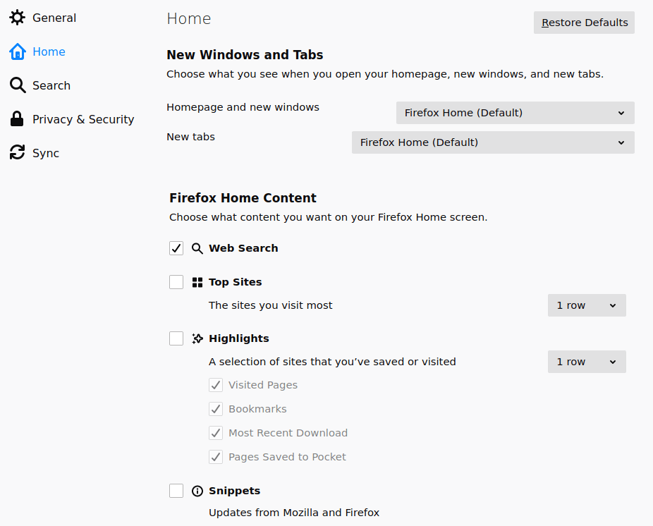 setting firefox as default browser home