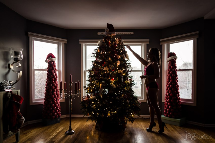 girl with high heels with christmas tree JAGstudios photography A Christmas Boudoir Photography Session