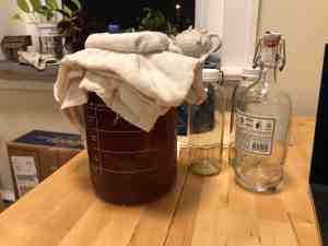 A gallon of kombucha in a big jar with cloth covering it. There are also empty bottles beside the big jar that we'll be using later.