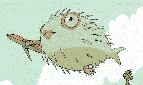 A drawing of a puffer fish floating in the sky.