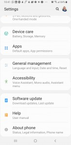 First Android settings menu. Long press on Accessibility from this screen.