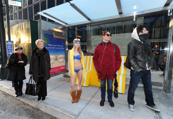Greater Fort Lauderdale treats New Yorkers with a heated bus shelter and a beach oasis on 42nd Street and Lexington Avenue, Wednesday, Jan. 15, 2013, in New York. (Photo by Diane Bondareff for Greater Fort Lauderdale)