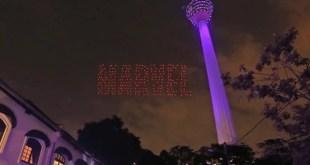 300 drones réalisent des figures dans le ciel en l'honneur d'Avengers
