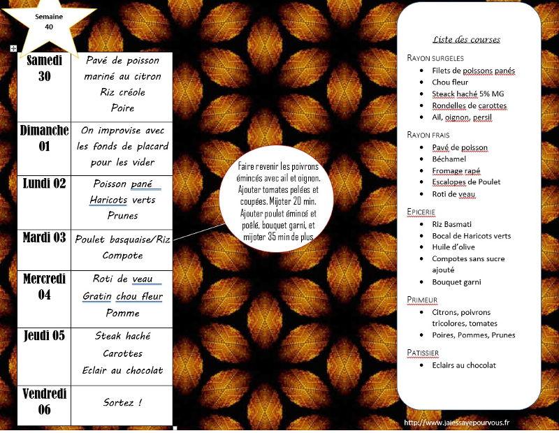 menus semaine 40