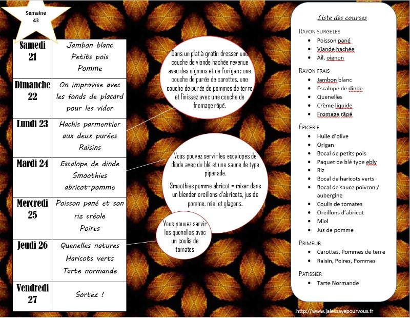 menus semaine 43