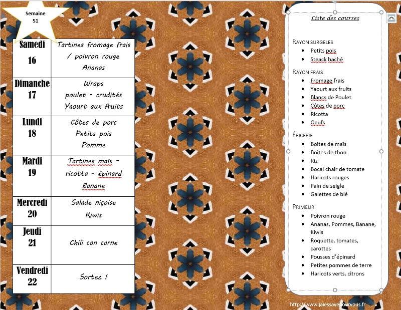 menus semaine 51