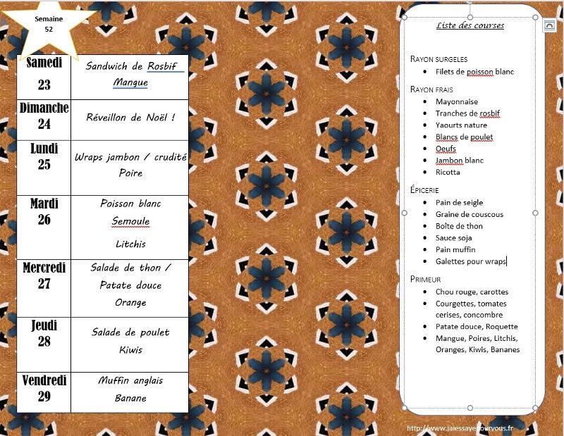 menus semaine 52