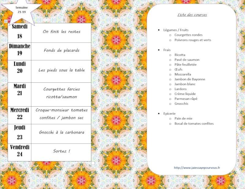 menus semaine 19-21