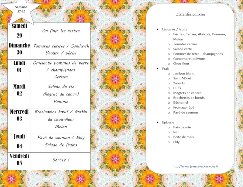 menus semaine 27 2019