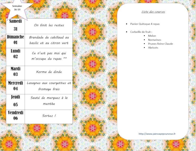 menus semaine 36 - 2019