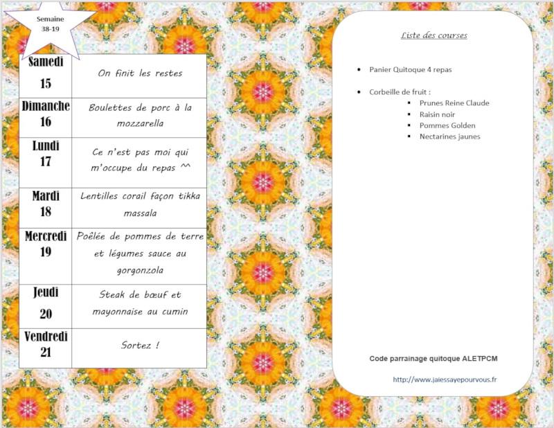 menus semaine 38 - 2019